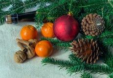 Feiertagskonzept: Kegel, Tangerine, Sektflasche, Gewürze und Stockfoto