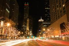 Feiertagsleuchten auf Michigan-Allee Lizenzfreie Stockbilder
