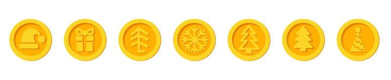 Feiertagsmünzen des neuen Jahres des Santa Claus-goldener Vektorsatz der Schlüsselwährung Weihnachtswinters für Weihnachtsmärkte  lizenzfreie abbildung