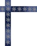 Feiertagsrand Schneeflocken auf blauen Farbbändern