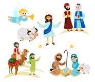 Feiertagssatz der frohen Weihnachten des Fliegenengels und der Jesus Christ-Geschichte lizenzfreie abbildung