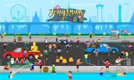 Feiertagssommer-Familientag Songkran-Festivalthailands traditioneller mit vielen Leuten auf Straßenvektorillustration eps10 lizenzfreie abbildung