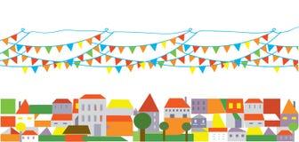 Feiertagsstadt mit Fahne der Markierungsfahnen Stockfotografie