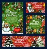 Feiertagsvektor-Skizzengruß der frohen Weihnachten lizenzfreie abbildung