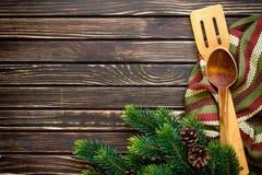 Feiertagsvektorabbildung mit Gabel, Orange und Anis Stockfotografie