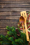 Feiertagsvektorabbildung mit Gabel, Orange und Anis Lizenzfreie Stockfotos
