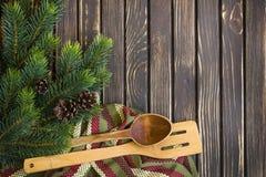 Feiertagsvektorabbildung mit Gabel, Orange und Anis Stockbild