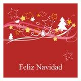 Feiertagsvektorkarte mit espanol Wünschen: Feliz Navidad Lizenzfreies Stockbild