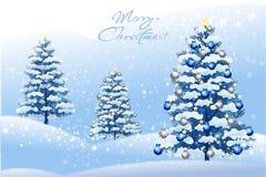 Feiertagswinterlandschaft auf Schneeflockenhintergrund - vector eps10 Lizenzfreie Stockbilder