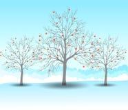 Feiertagswinterweihnachtslandschaftshintergrund mit Baum Lizenzfreie Stockfotografie