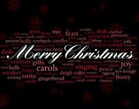 Feiertagswörter der frohen Weihnachten Stockfotografie