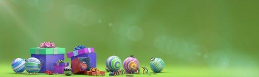 Feiertagszusammensetzung mit Spielzeugdekoration mit magischem Kasten stock abbildung