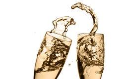 Feiertoast mit tiefem Champagner Stockfotografie