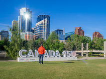 Feierzeichen Kanadas 150 Stockfoto