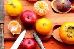 Feige, Granatapfel, Apfel und Mandarinen (Tangerinen) auf rauem Hintergrund Stockbild