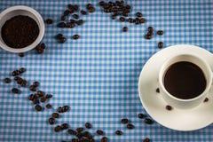 Feijão de café, copo imagem de stock