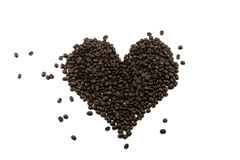 Feijão de café isolado no fundo branco Imagens de Stock Royalty Free