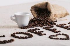 Feijão roasted, textura agradável de Coffe Fotografia de Stock Royalty Free