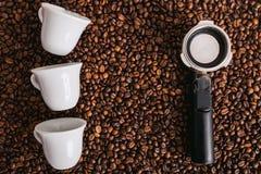 Feijão roasted, textura agradável de Coffe Imagens de Stock Royalty Free