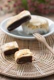 Feijão vermelho da torta da pastelaria com sésamo preto Fotografia de Stock Royalty Free