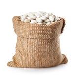 Feijões brancos no saco Fotos de Stock