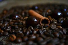 Feijões, chocolate e canela de café Imagem de Stock Royalty Free