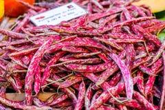 Feijões cor-de-rosa brancos frescos do ` s do fazendeiro nos golpes Imagem de Stock Royalty Free