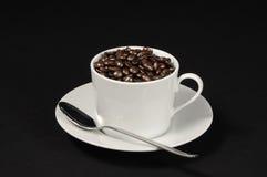 Feijões da chávena de café Imagens de Stock Royalty Free