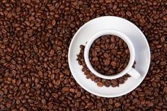 Feijões da xícara de café Imagens de Stock Royalty Free