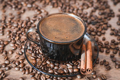 Feijões de café, café preto Fotos de Stock