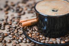 Feijões de café, café preto Imagem de Stock