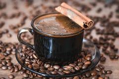Feijões de café, café preto Foto de Stock