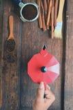 Feijões de café com café à terra na colher e na canela de madeira, chaleira vermelha Foto de Stock