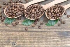 Feijões de café com as folhas nas colheres na superfície de madeira Fotos de Stock Royalty Free