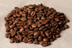 Feijões de café com a colher de medição na serapilheira Imagens de Stock