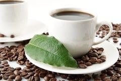 Feijões de café dispersados com xícaras de café e folha Imagem de Stock