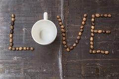 Feijões de café do amor Imagem de Stock