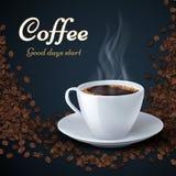 Feijões de café do aroma e copo do café quente Fundo do vetor dos anúncios de produto ilustração royalty free