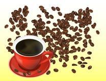 Feijões de café e copo vermelho de Cofee isolados no fundo branco Foto de Stock