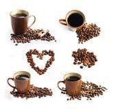 Feijões de café e grupo do tema da xícara de café Fotografia de Stock Royalty Free