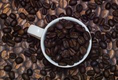 Feijões de café em um copo branco Imagens de Stock Royalty Free