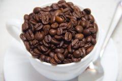 Feijões de café em um copo branco Preparação do café Fim acima imagens de stock