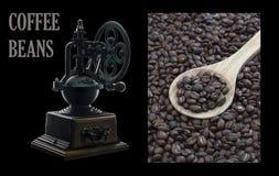 Feijões de café em um fundo preto Fotografia de Stock