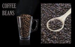 Feijões de café em um fundo preto Imagem de Stock Royalty Free