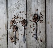 Feijões de café em uma colher imagens de stock