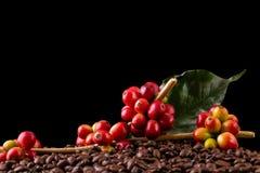 Feijões de café Em uma rotação de madeira do fundo foto de stock