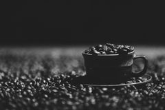 Feijões de café em uma xícara de café Imagem de Stock