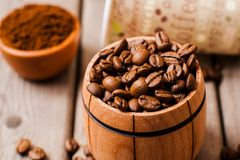 Feijões de café Café de Grinded Imagens de Stock