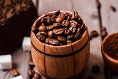 Feijões de café Café de Grinded Imagem de Stock