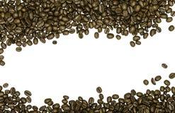 Feijões de café isolados no fundo branco Imagens de Stock Royalty Free